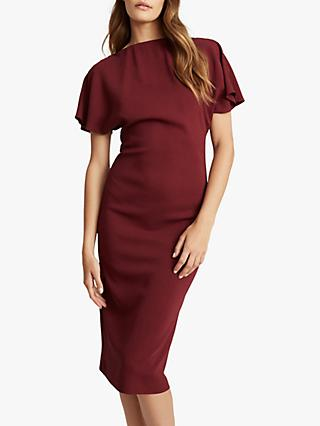 Reiss Josie Zip Detail Dress, Berry