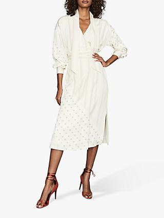 Reiss Romi Patched Print Belted Midi Dress, Ivory