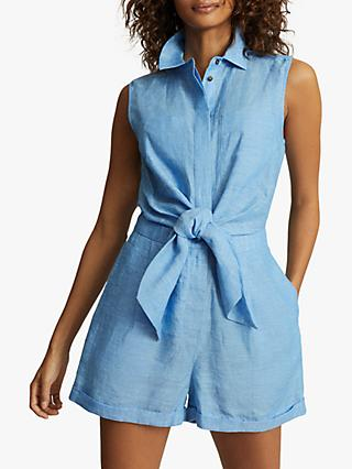 Reiss Ema Linen Playsuit, Blue