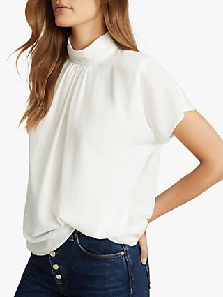 Reiss Yara Crepe Short Sleeve Top, Ivory