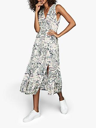 Reiss Marcy Abstract Print Midi Dress, Multi