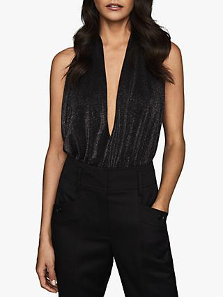 Reiss Cleona Metallic Halter Neck Bodysuit, Black