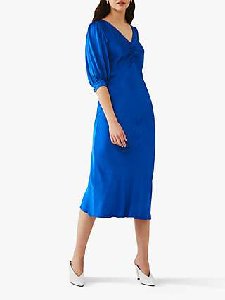 Ghost Iowa Satin Midi Dress, Bright Blue
