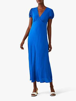 Ghost Poet Crepe Wrap Front Midi Dress, Bright Blue
