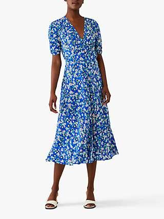Ghost Flo Crepe Floral Midi Dress, Elenor Willow