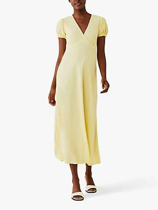 Ghost Poet Crepe Wrap Front Midi Dress, Soft Yellow