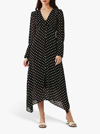 Ghost Marabel Polka Dot Hanky Hem Dress, Black