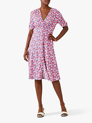 Ghost Sabrina Crepe Floral Dress, Maisy Meadow Flowers