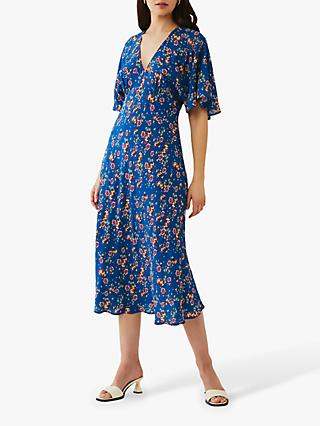 Ghost Tessie Crepe Floral Midi Dress