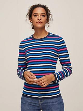 John Lewis & Partners Cashmere Stripe Crew Neck Sweater