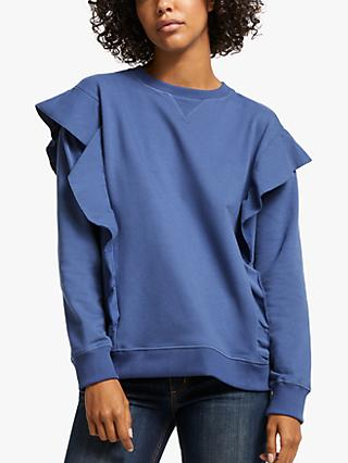 AND/OR Leanne Ruffle Sweatshirt, Smudge Blue