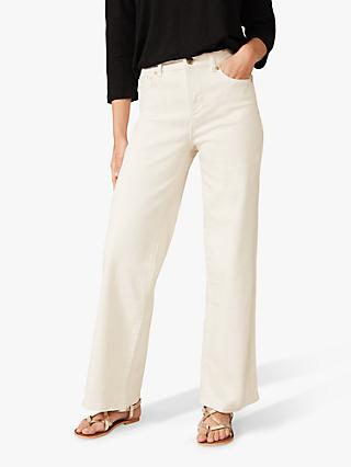 Phase Eight Viona Wide Leg Jeans, Ecru
