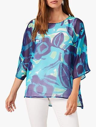 Phase Eight Delainey Silk Blouse, Blue