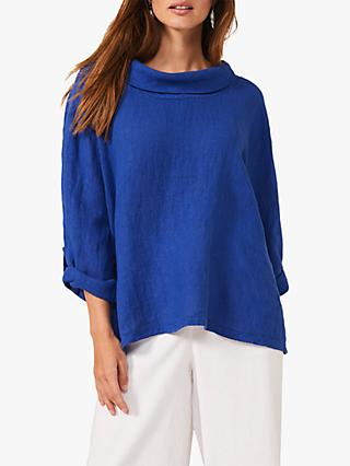 Phase Eight Selwyn Linen Blouse, Cobalt