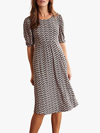 Boden Lily Puff Sleeve Dress, Pebble