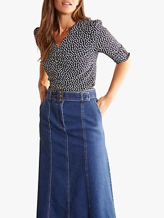 Boden Jemima Puff Sleeve Top, Navy