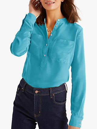 Boden Silk Collarless Blouse, Lomond Blue