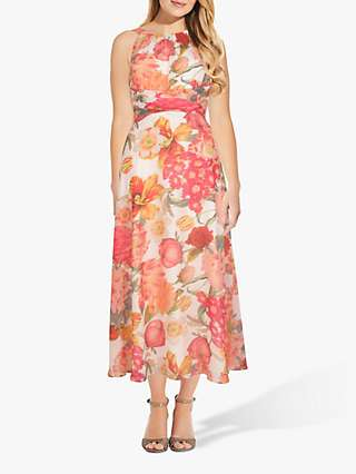 Adrianna Papell Floral Chiffon Dress, Ivory/Orange