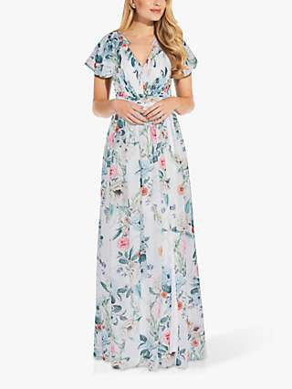 Adrianna Papell Floral Ruffle Shoulder Chiffon Dress, Glacier