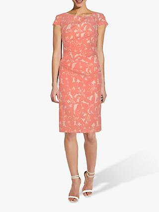 Adrianna Papell Jacquard Drape Dress, Coral