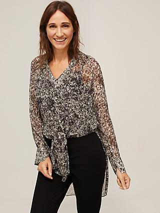 Modern Rarity Mottle Print Tie Front Blouse, Black/Multi