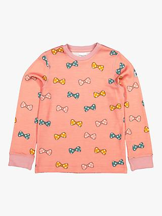 Polarn O. Pyret Children's Bow Wool Blend Jumper, Pink
