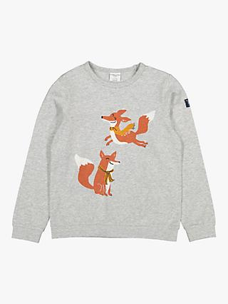 Polarn O. Pyret Children's GOTS Organic Cotton Fox Top, Grey