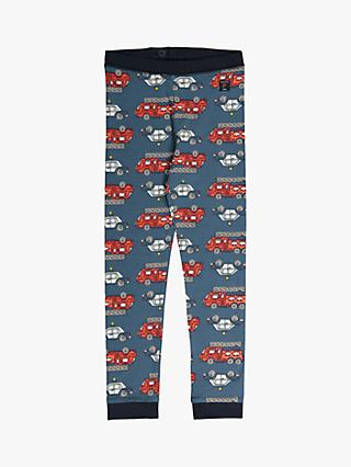 Polarn O. Pyret Children's GOTS Organic Cotton Fire Engine Trousers, Blue