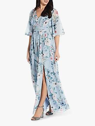 Adrianna Papell Floral Chiffon Dress, Glacier/Multi