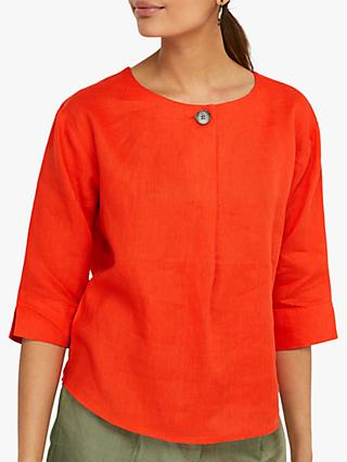 Monsoon Scarlet Linen Top, Red