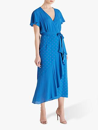 Fenn Wright Manson Carla Wrap Dress, Blue/Apricot Spot