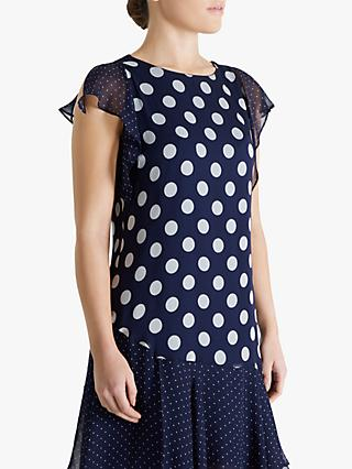 Fenn Wright Manson Petite Polka Dot Dress, Navy