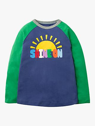 Mini Boden Boys' Rainbow Shine On T-Shirt, Starboard Blue