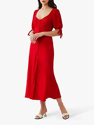 Ghost Logan Satin Back Crepe Button Through Midi Dress, Red