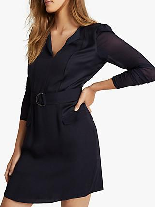 Reiss Addison Belted Mini Dress, Navy
