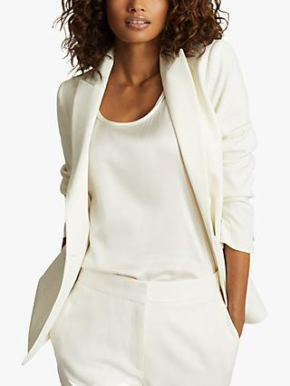 Reiss Leigh Wool Blend Tuxedo Blazer, White