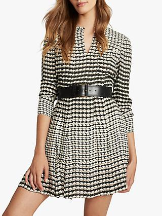 Reiss Evie Geometric Print Mini Dress, Black/White