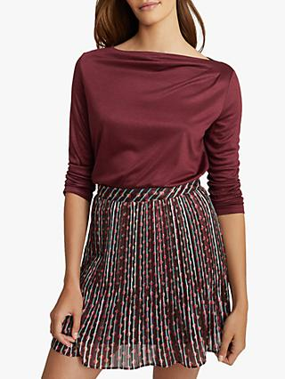 Reiss Faye Pleat Detail Blouse, Berry