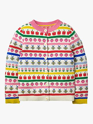 Mini Boden Girls' Fun Fair Isle Cardigan, Ecru Marl