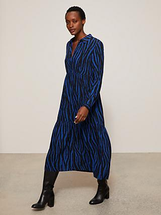 John Lewis & Partners Zebra Print Tiered Midi Dress, Blue/Multi