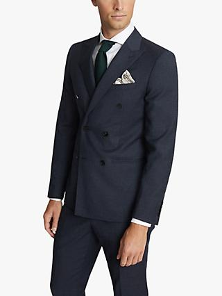 Reiss Villa Double Breasted Hopsack Wool Slim Fit Suit Jacket