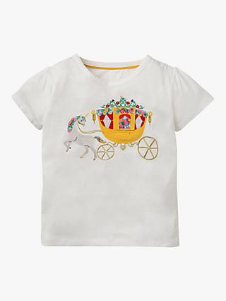 Mini Boden Girls' Novelty Royal T-Shirt, Ivory Carriage