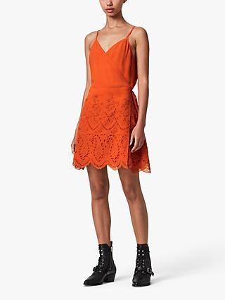 AllSaints Zariah Floral Lace Mini Dress, Orange