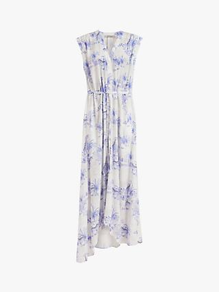 AllSaints Tate Tajpur Asymmetric Hem Dress, Surf Blue