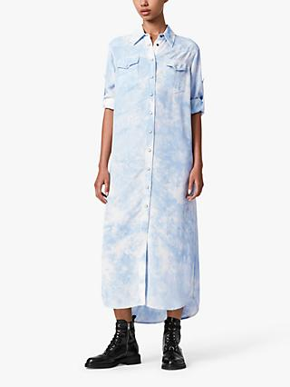 AllSaints Aliza Tie Dye Maxi Shirt Dress, Blue
