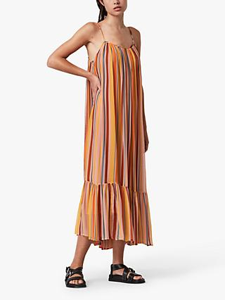 AllSaints Paola Stripe Midi Dress, Orange