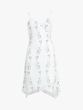 AllSaints Zia Varansai Floral Wrap Dress, Chalk White