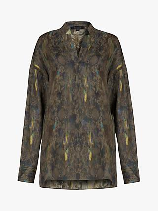 AllSaints Andia Masala Semi-Sheer Shirt, Green