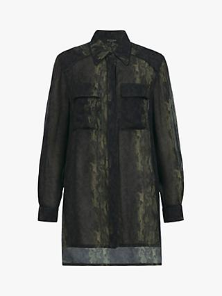 AllSaints Esther Masala Snake Print Shirt, Green
