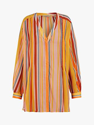 AllSaints Adra Strip Blouse, Orange